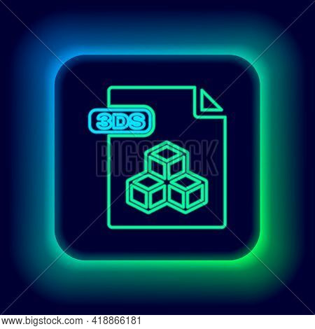 Glowing Neon Line 3ds File Document. Download 3ds Button Icon Isolated On Black Background. 3ds File