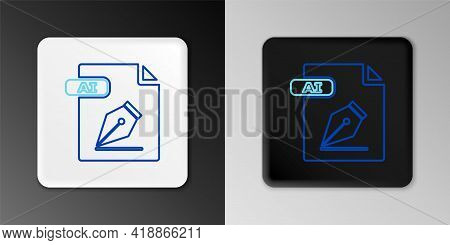 Line Ai File Document. Download Ai Button Icon Isolated On Grey Background. Ai File Symbol. Colorful