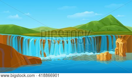 Cartoon Colorful Summer Nature Landscape Template With Scenic Waterfall Picturesque Green Mountains