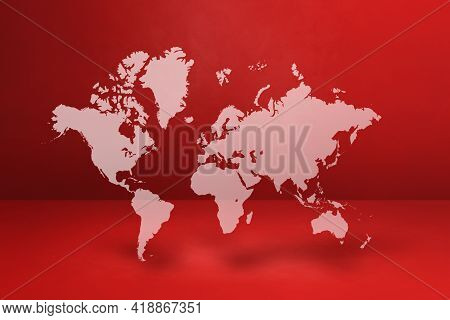 World Map Isolated On Red Wall Background. 3d Illustration