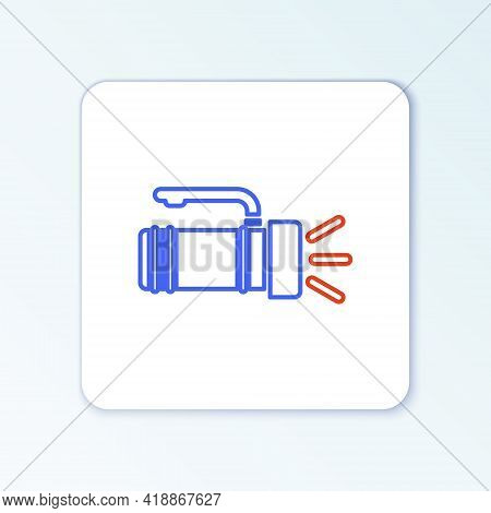 Line Flashlight Icon Isolated On White Background. Tourist Flashlight Handle. Colorful Outline Conce