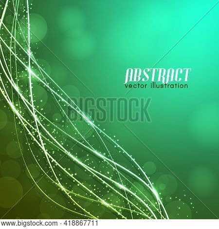Glowing Curved Fibres With Sparkles And Blurred Lights On Green Background With Text Vector Illustra