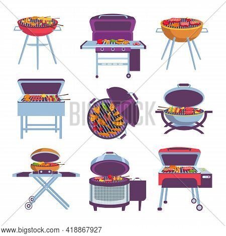 Cartoon Barbeque Grills. Bbq Oven With Fry Food Meat, Vegetables, Sausage And Chicken. Outdoor Mobil