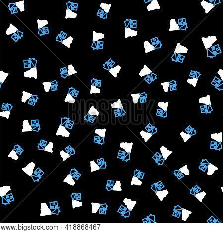 Line Tornado Swirl Damages House Roof Icon Isolated Seamless Pattern On Black Background. Cyclone, W