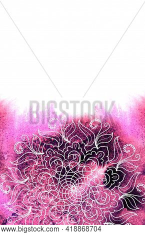 Bright Textured Magenta - Pink Watercolor Abstract Background With Mandala.