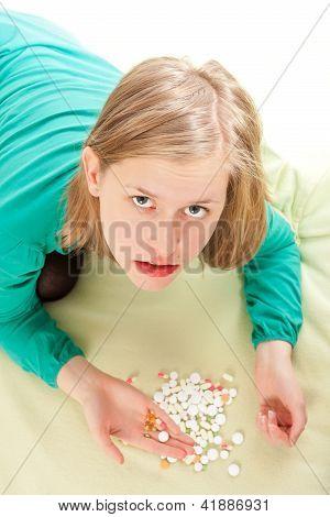 Sick Person Assorting Pills