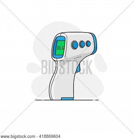Vector Template Of Digital Non-contact Infrared Forehead Thermometer In Flat Style With Outline On B