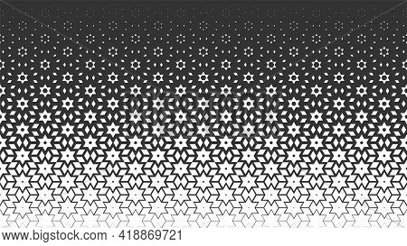 Vector Monochrome Seamless Pattern. Repeating Geometric Background In Arabic Style With Polygon, Sta