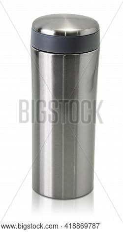 Portable Stainless Steel Tumbler For Holding Hot Or Cold Drink Isolated On White Background With Cli