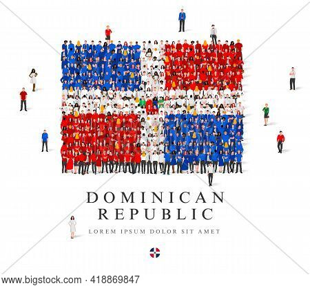 A Large Group Of People Are Standing In Blue, White And Red Robes, Symbolizing The Flag Of The Domin