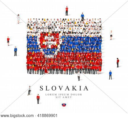A Large Group Of People Are Standing In Blue, White And Red Robes, Symbolizing The Flag Of Slovakia.