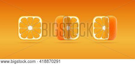 Set Of Isolated Vector Icons Of Square Cut Orange Mandarin. 3d Cartoon Illustration Of Juicy Ripe Ta