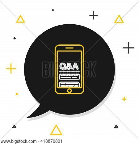 Line Mobile Phone With Question And Exclamation Icon Isolated On White Background. Frequently Asked