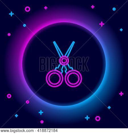 Glowing Neon Line Scissors Hairdresser Icon Isolated On Black Background. Hairdresser, Fashion Salon