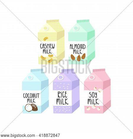 Set Of Various Cow Milk Alternatives, Vegan Or Vegetarian Milk - Cashew, Almond, Rice, Coconut, Soy.