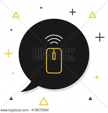 Line Wireless Computer Mouse System Icon Isolated On White Background. Internet Of Things Concept Wi