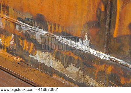 Defective Butt Weld Of Welding Of Metal Sheets. Repair Of A Tank For Storing Oil, Gasoline And Gas.