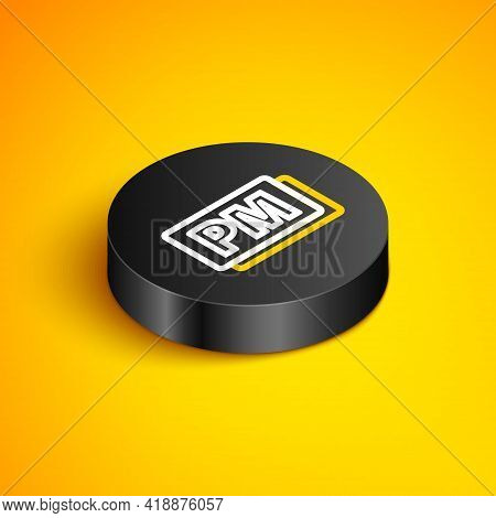 Isometric Line Clock Pm Icon Isolated On Yellow Background. Time Symbol. Black Circle Button. Vector