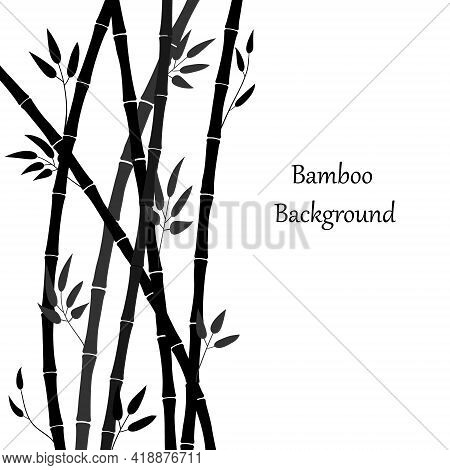 Bamboo Forest Illustration. Vector Background With Bamboo Stems And Leaves. Graphics, Black Silhouet
