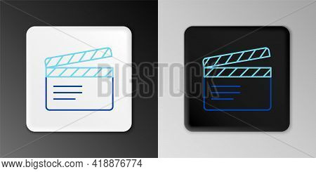Line Movie Clapper Icon Isolated On Grey Background. Film Clapper Board. Clapperboard Sign. Cinema P