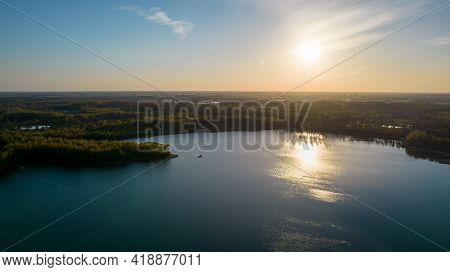 Stunning Aerial Drone Landscape Image Of Sunset Or Sunrise In Spring Over Europese Countryside. High