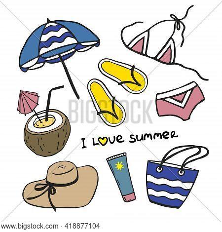 Summer Collection Of Vector Beach Icons. Handmade Beach Umbrella, Bikini, Sunscreen, Hat, Coconut Co