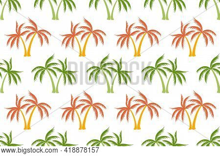 Simple Coconut Tropical Palm Tree Seamless Pattern Summer Holiday Vector Illustration. Exotic Leaves