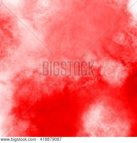 Red Square Painted With Watercolor Paint, Texture Background, Backdrop For Design. Watercolor Spot R