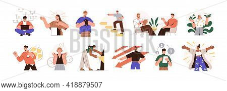 Mbti Person Types Set. Different Mindsets, Behavior Models, Mental Perceiving And Thoughts. Psycholo