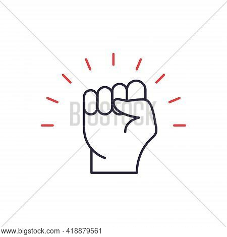 Black Lives Matter. Fist Hand Up Line Icon. Fist Raised Up. Girl Power. Feminism Symbol. Concept Of