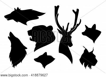 Set Of Realistic Detailed Black Vector Silhouettes Of Wild Animals Heads From Eurasia And  North Ame