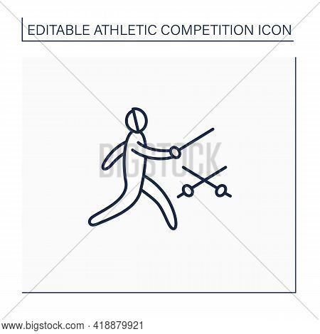 Fencing Line Icon. Combat, Individual Sport. Fencer Use Special Equipment. Sword, Sabre For Attack A