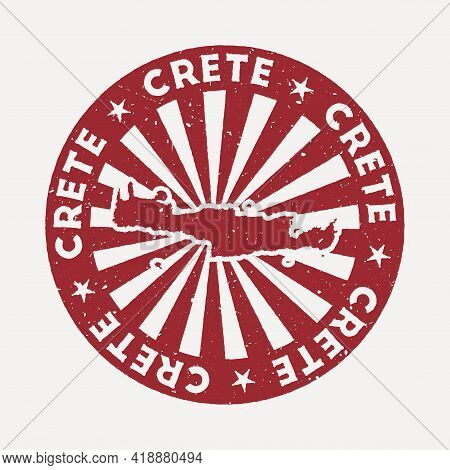 Crete Stamp. Travel Red Rubber Stamp With The Map Of Island, Vector Illustration. Can Be Used As Ins