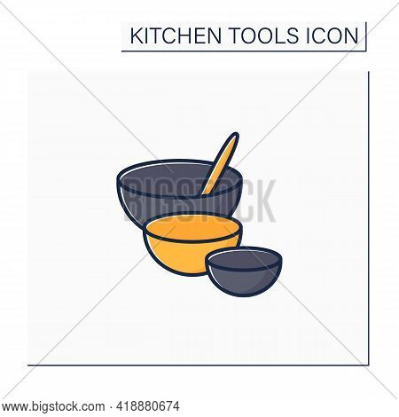 Mixing Bowls Color Icon. Deep Bowls. Used To Mix Ingredients Together In. Cooking Utensils. Kitchen