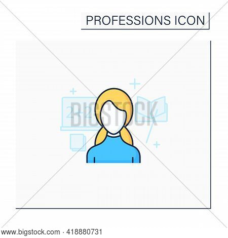 Teacher Color Icon. Educator. Woman Teaches Other People. Share Acquire Knowledge, Competence, Virtu