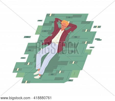 Happy Carefree Businessman Resting On Money Heap. Relaxed Successful Man Lying On Cash Stack. Financ