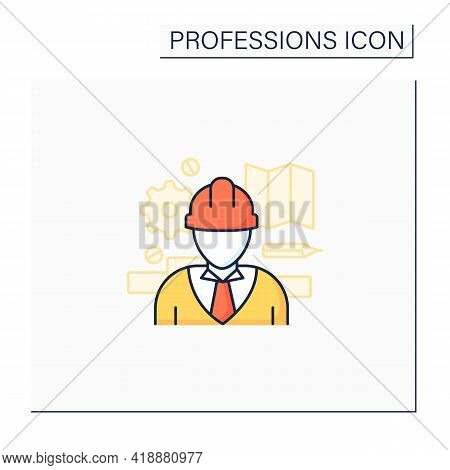 Engineer Color Icon. Man Design, Construct, Maintain Engines And Machines. Important Job.professions