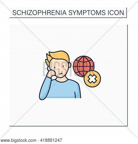 Negative Symptoms Color Icon.disinterest. Apparent Environment Unawareness, Social Withdrawal.schizo