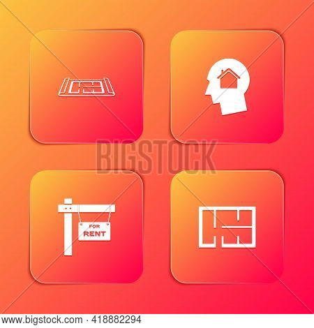 Set House Plan, Man Dreaming About Buying House, Hanging Sign With For Rent And Icon. Vector