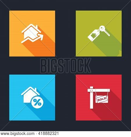 Set Rising Cost Of Housing, House With Key, Percant And Hanging Sign Sold Icon. Vector