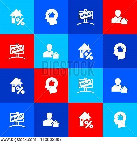Set House With Percant, Man Dreaming About Buying House, Hanging Sign Sold And Realtor Icon. Vector