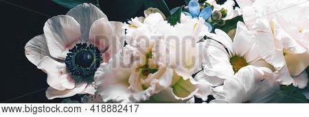 Flower Bouquet On Black Background, Beautiful Floral Arrangement, Creative Flowers And Floristic Des