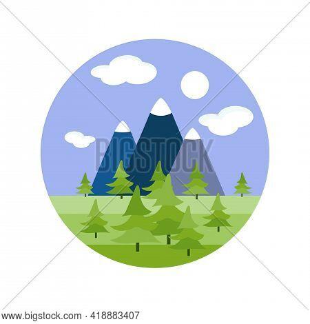 Mountain Landscape Fir Tree Round Sticker. Blue Green Nature Flat Art Design Stock Vector Illustrati