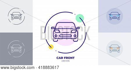 Car Front Line Art Vector Icon. Outline Symbol Of Automobile Transport. Front View Of Car Made Of Th