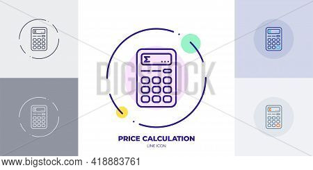 Total Price Calculation Line Art Vector Icon. Outline Symbol Of Price Calculator.
