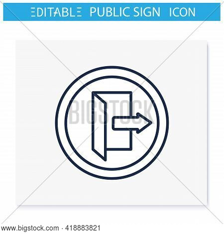 Exit Symbol Line Icon. Closest Emergency Exit. Keep Door Opened. Public Place Navigation. Universal
