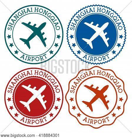 Shanghai Hongqiao Airport. Shanghai Airport Logo. Flat Stamps In Material Color Palette. Vector Illu