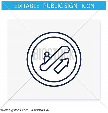 Escalator Symbol Line Icon. Upper Floor Climb. Stairway Sign. Public Place Navigation. Universal Pub