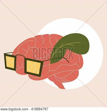 Vector Brain With Leaf In Matte Style