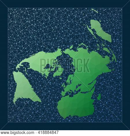 Global Network. Gringorten Quincuncial Projection. Green Low Poly World Map With Network Background.